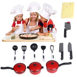 Wholesale Playhouses Plastic - Wholesale- HOT 12pcs Playhouse Toys Small Chef Kitchenware Simulation Kitchen Utensils Kids Toy AUG 31
