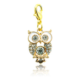 Wholesale 14k Gold Owl Pendant - Fashion Floating Charms Gold Plated Rhinestone Owl Lobster Clasp Alloy Animal Charms DIY Pendants Jewelry Accessories