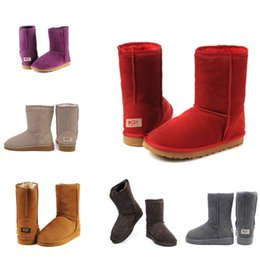 Wholesale Knee High Boots Free Shipping - Free Shipping 2018 New Australia Classic snow Boots High Quality Cheap women winter Knee boots fashion discount Ankle Boots Red Green Blue
