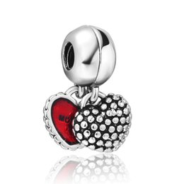 Wholesale Daughter Mother Heart Jewelry - Wholesale Mother & Daughter Dangle Charm 925 Sterling Silver European Floating Charms Bead With Red Enamel Fit Bracelets DIY Jewelry