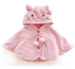 Wholesale Girls Hooded Capes - 2015 Fashion hello kitty baby girl clothing ,soft fleece cloak toddler girl clothing cape for outerwear coat ,baby clothes 0-3Y