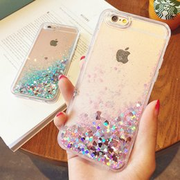 Wholesale Cellphone Star - Star liquid glitter phone case for iphone X 7 8Plus 6 plus clear colouful dynamic bling soft tpu edge PC back cellphone cases