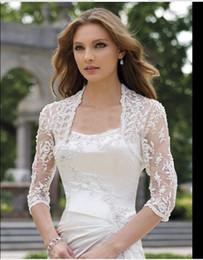 Wholesale Elegant Wedding Bolero - 2016 Elegant shawl lace shrug lace wraps bolero wedding Bridal Jacket bolero jackets bridal bolero lace for wedding dresses