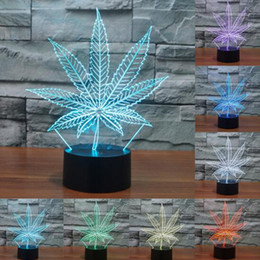 Wholesale Toy Pumpkins - Maple Leaf 3D Night Light LED Touch Switch Leaves 3D Lamp Usb 7 Colors Changing Acrylic Desk Table Lamp Creative Toys Gift