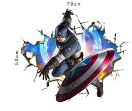 Wholesale Avengers Wall Stickers - 4 Style The Avengers Super Heroes wallpaper Kids cartoon Hulk Captain America Iron Man Thor Wall stickers Bedroom Decoration DHL 150pcs