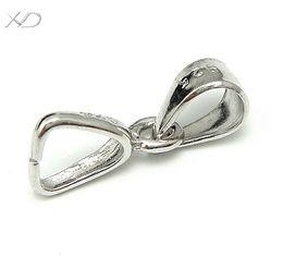 Wholesale Sterling Pinch Clip Bail - Wholesale-XD P035 925 sterling silver pendant pinch clip bail jewelry clasps for gemstone necklace 5pcs lot