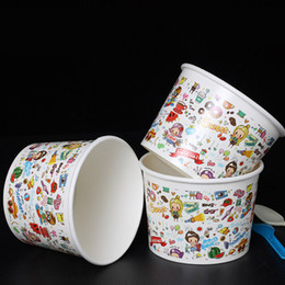 Wholesale Cup Cake Packaging - 16oz Cartoon Color Paper Jelly Bowl Cup Eco Friendly Thick Yogurt Dessert Bowl Disposable Cake Packaging Box 200pcs lot SK810