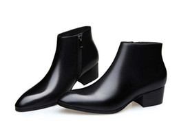 Stivali di fibbia mens online-Nuovi tacchi alti mens stivali in vera pelle scarpe da uomo moda fibbia design punta a punta stivaletti ufficio carriera lavoro stivali scarpe