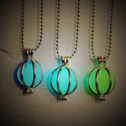 Wholesale Heart Lanterns - 2015 Vintage Womens Luminous Beads Atlantis Necklace Hollow Round Lantern Pendant Chain Silver Plated Necklaces Jewelry For Gift NE155