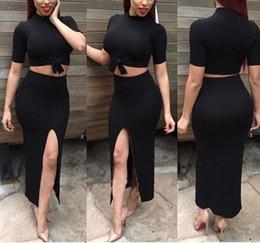 Wholesale Clubwear Dress High Slits - New Wommen Clothing Black Summer Bandage Bodycon 2 Piece Set O Neck Mid-calf High Slit Maxi Dresses Long Sexy Clubwear S-XL