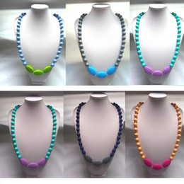 Wholesale Wholesale Silicone Teething Beads - New TEETHer necklaces mum Beads Silicone pendant teething Baby necklace chew jewellery 7 colors for choices
