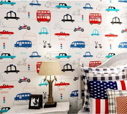 Wholesale Vertical Striped Wallpaper - Children environmental non-woven cartoon children room car and bus boy bedroom vertical striped wallpaper papel de parede