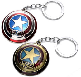 Wholesale Avengers Characters - The Avengers Captain America Shield Alloy Pendant Keychains Key Ring Keychain Favors movie Animation cartoon Fashion Accessories party gift