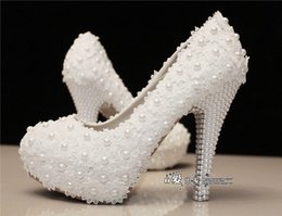 Wholesale Flat Evening Shoes - New Hot Bridal Crystals Shoe White Lace Wedding Shoes Flower Pearls Custom 11CM High Heels Bridal Shoes Waterproof Evening Party Prom Shoes