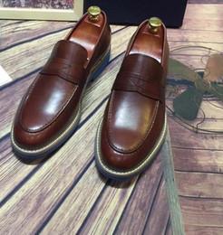 Wholesale Handsome Pump - Brand Handmade Genuine leather Slip on Men Loafers Casual men shoes Handsome boy shoe