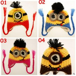 Wholesale Despicable Handmade - 20pcs new 4 color kids minions Crochet beanie knits handmade beanies baby Despicable Me beanies caps hats christmas halloween gift