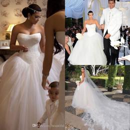 Wholesale Kim Kardashian Ball Gowns - Kim Kardashian Lace Tulle Ball Gown Wedding Dresses Bridal Gown With Chapel Train New Arrival 2018 Cheap Dress