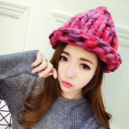 Wholesale Winter Warm Stick - Wholesale-Winter monochromatic warm knit cap Thick stick knitting mixed color winter hats for women beanies wholesale