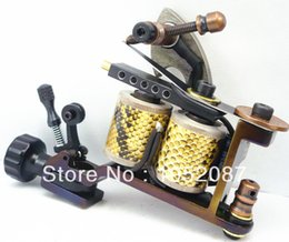 Wholesale Damascus Machine - Wholesale-2015 High Quality Handmade Tattoo Damascus Machine Gun 10 Wraps Coils For Needle Ink Free Shipping