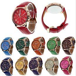 Wholesale Silicone Blue Bracelet - 2017 Unisex Luxury Watches Geneva Silicone Roman Numerals Watch leather Bracelet Quartz Watch Fashion Mens Women Sports Cystal Watches