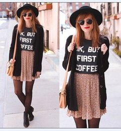 Wholesale ladies first - OK BUT FIRST COFFEE T Shirts Printed Words Letter Tops New Womens Summer Loose Casual Cotton Sexy Vest Tee Shirt Tops Ladies Top T-Shirt