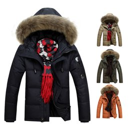 Wholesale Orange Coat Fur Collar - S5Q Men Military Warm Fur Collar Coat Winter Thick Duck Down Coat Hoodie Jackets AAADXR
