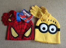 Wholesale Minions Beanies - Baby Boys Children Minions Cartoon Spiderman Winter Knitted Hat and Glove Set Warm Beanies Cap Minions Spiderman caps and gloves in stock