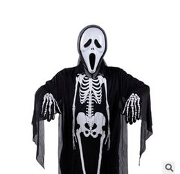 Wholesale Ghost Suit - Halloween clothes Skull clothes Cosplay Clothing Ghost suit Cape overcoat for kids Children Performance Stage clothes GN C003