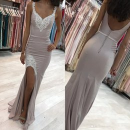 Wholesale deep blue lace bridesmaid dresses - Elegant Gary With Lace Appliqued Split Prom Dresses Sexy Backless 2018 V Neck Long Party Dress Evening Gowns Bridesmaid Dress