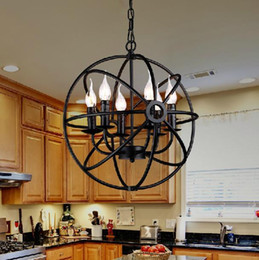 Wholesale Candle Pendant Style Lighting - 6 8 12 Vintage Pendant Light American Country Style birdcage Bar Hardware chandeliers Classic Beauty Iron candle light Hollow Round Lamp