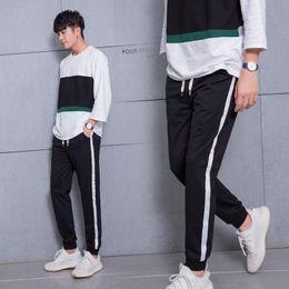 Rayure coréenne noir blanc en Ligne-Automne Coréen Style Hommes Pantalons Occasionnels Leggings Jogger Pantalon Côté Rayé Blanc Ligne Imprimé Noir Joggers Sportwear