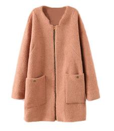 Wholesale Great Coat Women - Wholesale-Free Shipping Alralel Women Winter Collarless Thicken Fleece Outwear Parka Great Peacoat Coat XL90127-black