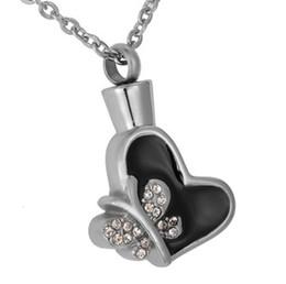 Pendenti di colla online-Lily Urna in acciaio inossidabile Collana di cristallo farfalla nera colla cremazione cuore ciondolo gioielli commemorativi cenere ceneri con sacchetto del regalo