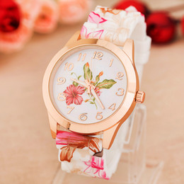 Wholesale Rose Quartz For Men - Wholesale-New Fashion Quartz Watch Rose Flower Print Silicone Watches Floral Jelly Sports Watches For Women Men Girls Hot Pink Wholesale