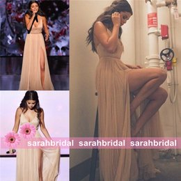 Wholesale Jacket Lining For Sale - Selena Gomez Champagne Slit Celebrity Red Carpet Dresses For 2016 Special Occasion Formal Evening Guest Prom Party Gowns Cheap Sale Vestidos