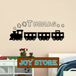 Wholesale Personalised Packaging - Train smoke personalised wall sticker any name 29 colours decal graphic boys bedroom play room 40*100CM Free shipping