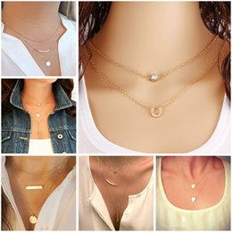 Wholesale Wedding Tennis - New Gold Fatima Hand Multilayer Hammer Chain Lariat Bar Necklace Long Strip Pendant Necklace Collar joyeria collier Women JHS018