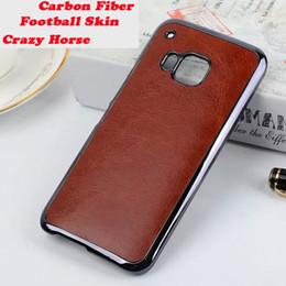 Wholesale Hard Plastic Horse - M For HTC One M9 Crazy Horse Football Carbon Fiber Metallic Chrome Coating Skin Luxury Plating Cover Cases Hard Plastic Phone Case 5pcs
