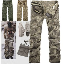 Wholesale Army Cargo Colors - Retail Fashion New 2014 Mens Cotton Casual Military Army green Cargo Camo Combat Work Pants Trousers 5 colors size 28-38R49