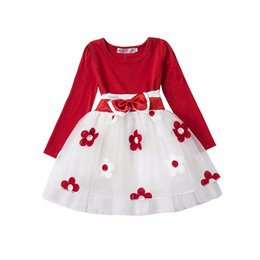 Wholesale Silk Flowers For Clothes - Wholesale- 1 Year Birthday Newborn Flower Dress For Baby Princess Long Sleeve Round Collar Cute Flower Vestido Clothes for Newborn Toddler