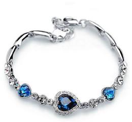 Wholesale Heart Ocean Jewelry Set - Fashion Women Jewelry 925 silver plated Royal Ocean Heart Charm Rhinestone Bangle Bracelet Christmas Gift 4 Colour Bracele