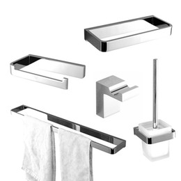 Wholesale Paper Bath - 2017 Wholesale Luxurious Solid Brass robe hook toilet paper holder towel rack 5pcs Bath hardware set