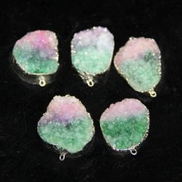Wholesale Titanium Drusy Wholesale - 3pcs Free Titanium Druzy Green Gradient Agate Women Connector, Gold Plated Crystal Quartz Drusy Agate Pendants Necklace Jewelry Drop Pendant