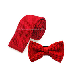 Wholesale Knitted Bowties - Retail Mens Sloid Knitted Necktie Ties Sets 5 CM Ties+Double-deck Knit Bowties 2 PCS Sets Men Accessories Free Shipping 1 Set
