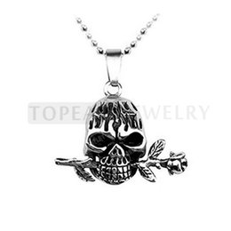 Wholesale Skull Rose Pendants - Teboer Jewelry 3pcs Stainless Steel Romantic Skull with Rose Pendant MEP216