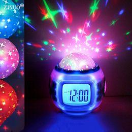 Wholesale Kids Best Clocks - ZINUO Children LED Night Light Music Starry Star Sky Led Projection Lazy Projector Alarm Clock Calendar Best gift For Kids