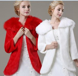 Wholesale Bride White Long Sleeve Shawl - Exquisite Red White Bride Wedding Shawl Winter Long Sleeves Thick Fur Faux Warm Bridal Jacket Wholesale 2017