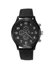 Wholesale Leather Mail - Black watch men's fashion sports watch brand Baolilong quartz three eyes Chronograph New Male Pop Watch bag mail