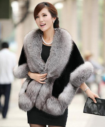 Wholesale Black Mink Vest - 2016 New Winter Leather grass fox fur mink rabbit fur poncho cape bridal wedding dress shawl cape women vest fur coat