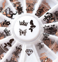 Wholesale Nail Decal Wheel - Wholesale- 240pcs 3D Metal Christmas Nail Art Decoration Slice Black Stickers Decal Foil Wheel Beauty Nail Tool NA876